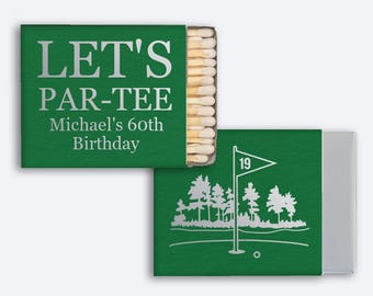 50 Custom Golf Match Boxes - 30 Strikes - Wedding, Baby Shower, Birthday, Dinner Party or any Occasion! - Party Favors!
