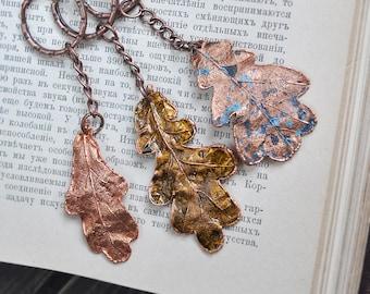 Oak leaf keychain, copper electroformed, leaf trinket, gift for him, electroforming, metal leaves, statement key rings