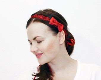 Red Headband Women, Gift for Her, Hair Bows, Hair Accessories, Nylon Headband, Baby Bows, Adult Headband Women, Your Final Touch, Red Bow