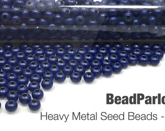 Dark Blue Plated Metal Seed Beads - Size 8/0 - 50 grams
