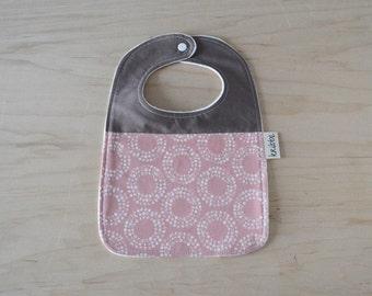 Organic Bib in Circles Pink - Baby Shower Gift, Toddler Bib, Baby Girl Gift