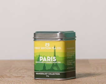 Paris Loose Leaf Tea Blend - Romantic Tea Gift - Chocolate and Caramel Black Tea - 50g tin