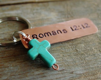 Bible Verse Keychain,Scripture Keychain, Personalized, Religious Gift,Christian Gift, Hand Stamped Copper, Cross Keychian, Turquoise Howlite