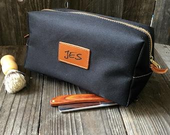 Mens Toiletry Bag - Canvas Dopp Kit - Groomsmen Gift - Black / Tan