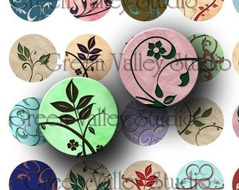 INSTANT DOWNLOAD Digital Art Images Collage Sheet Flowers Swirls One Inch Circles for Pendants Bottlecaps Magnets Scrapbooking (C41)