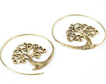 Tree Of Life Spiral Brass Earrings handmade, Tribal Earrings, Nickel Free yoga Jewellery, Gift boxed, Free UK postage BG7