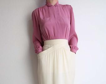 VINTAGE Skirt Ivory 1980s Pocket Skirt Mid Length Small
