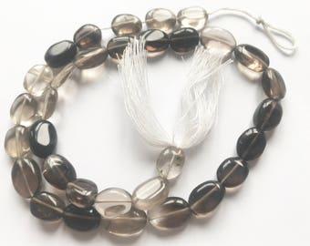 """16""""  Beautiful Smooth Oval Shaped Polished Smoky Quartz Beads Strand"""