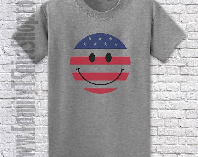 Circle Happy Face Patriotic T-shirt