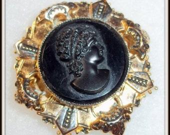 SALE  Vintage Black Glass Cameo Clip