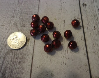 Vintage Baroque Glass Burgundy Pearl Beads, 30 Pieces, 9mm