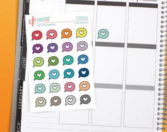 Heart Speech Bubble Stickers, Love Bubble Planner Stickers, Heart Bubble Stickers - D042