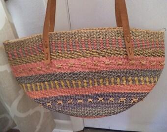 Vintage sac tissé Jute marché ~ fourre-tout bandoulière en cuir