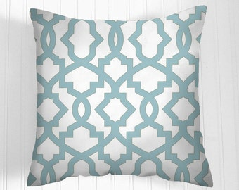 Decorative Throw Pillow Cover/ grey blue and white.Cushion Covers Pillow Home Decor front & back - Accent Pillow  Decorative