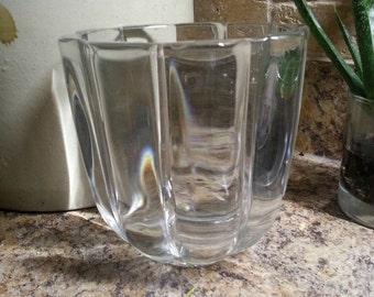 Vintage collectible glass vase clear glass decorative bowl