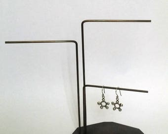 Contemporary Handmade Brass Three Stem Earring Stand