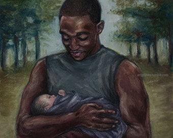 Sam Wilson with Stella's baby, Original soft pastel painting