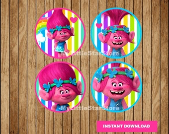 Poppy Trolls Cupcakes Toppers, Printable Trolls Toppers, Trolls party Toppers Instant download