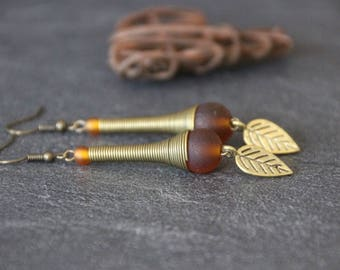 Long earrings style ethnic chic, caramel, bronze glass bead, cone spring leaf charm