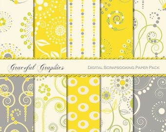 Scrapbook Paper Pack Digital Scrapbooking Background Papers Cosmic Swirls Pack Yellow Grey Lime Green White 10 Sheets 8.5 x 11 1304gg