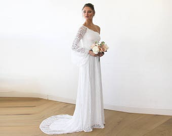 One Shoulder bell sleeve Floral Lace Gown With Long Train 1166