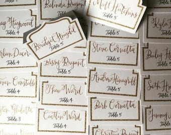 Escort Card Calligraphy - Name & Table Number