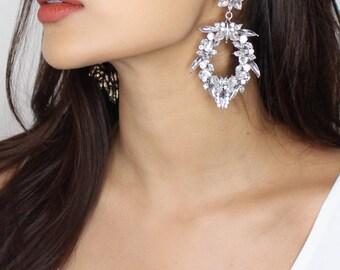 Nikita By Niki ® Large Silver Rhinestone Statement Floral Drop Crystal Chandelier Earrings Cnlfs