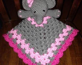 Elephant Lovey Blankie Security Blanket Baby Shower Pink Purple Gray