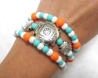 Western Jewelry Concho Bracelet Cowgirl Cuff Blue Coral White