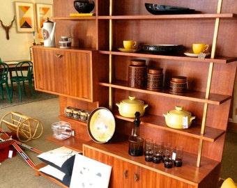 SOLD....SOLD 1960s Danish Teak Bookshelf Wall Unit. Mid Century Vintage Sideboard Eames Retro