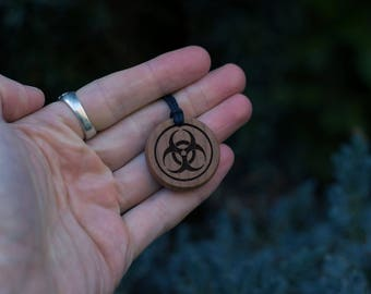 Necklace Inferno Biological Hazard Symbol, Pendant-Made from Solid Beech Wood. Gift for Science Teacher, Gift for Scientist. Gift for Geek.