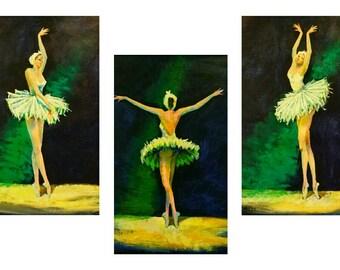 3 Pieces Ballerina paintings - Ballet dancer, Ballerina art, Ballet painting, original painting