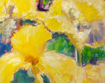 yellow iris original oil painting small 8x10inches floral art