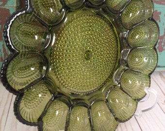 Indiana Glass Deviled Egg Plate/Green Glass