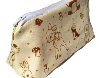 JULY PREORDER Cosmetic pouch bag deer fawn mushroom forest orange polkadot polka dot make up case gift bag travel kit toiletry zipper