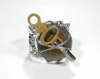 Steampunk Jewelry Ring MENS POCKET Watch GEARS, Wire Wrapped Silver Ring, Anniversary, Boyfriend Gift, Burning Man - Jewelry by edmdesigns