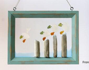 Sea Glass Art - Beach Glass Art - Home Decor - Window Decor - Gift