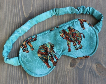 Woman's Sleep Mask, Eye Mask, Travel Mask, Spa Mask, Blindfold, Elephants, Handmade in Canada, Gift for Woman
