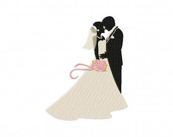 Wedding bride and groom embroidery design, embrace embroidery design