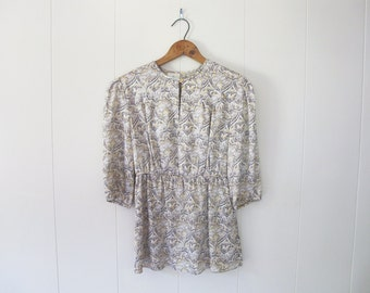 Vintage Inspired Silk blouse with keyhole neck and 3/4 sleeves
