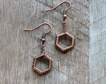 Copper Hexagon Earrings, Dangle Earrings, Copper Earrings, Copper Jewelry, Beaded Earrings, Rustic Modern Jewelry, Free Shipping