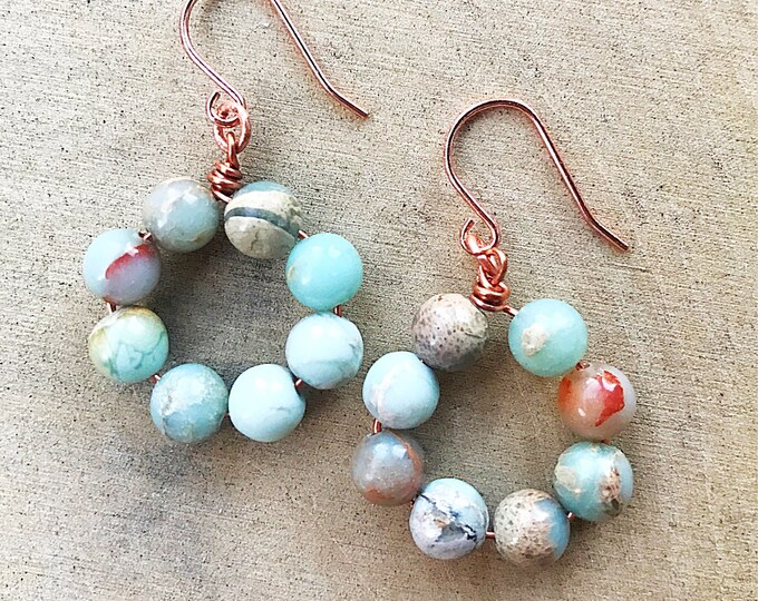 Impression Jasper Earrings, Healing Crystal Jewelry, Blue Gemstone Beads, CopperJewelry, Bohemian, Gifts For Her, Bridesmaid Gift, Rose Gold
