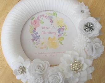 White Sparkle Felt Flower Wreath