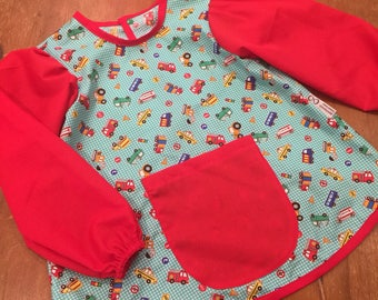 Art Smock/Apron With Sleeves, Cars & Trucks, Red Material Design, Quality Hand Made