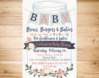 BABY-Q Invitation - Rustic, mason jars, floral, navy blue and coral pink