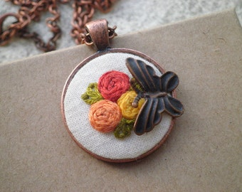 Embroidered Floral Rosette Butterfly Necklace - Flower Embroidery Necklace - Textile / Fabric / Fiber Art + Insect Jewelry Tiny Garden Gift