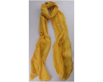 Merino / Silk Cobweb Felted Scarf - Butterscotch