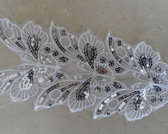 applique Butterfly lace and sequins 36 x 15 cm