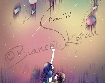 "Catch It Art Print - 8""x10"" or 11x14"" - original anime manga valentine's art couple love - Bianca Loran Art"