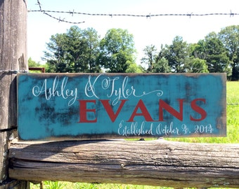 Personalized family sign. Established plaque. Farmhouse